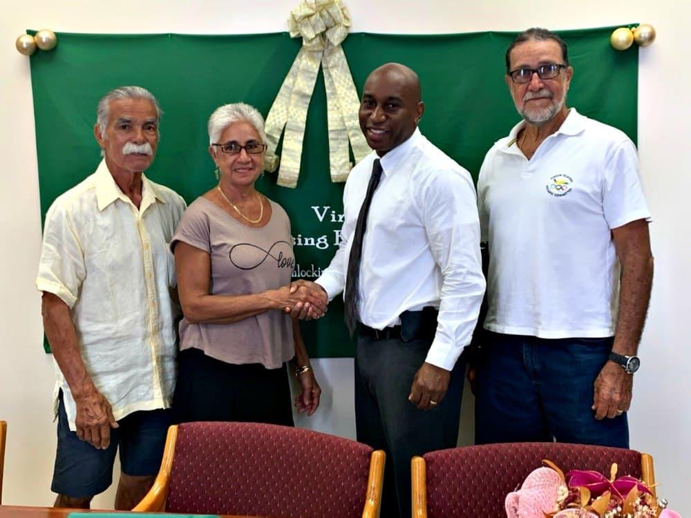 LtoR TJ Torres, husband of Villa Morales owner Angela Morales, Angela Morales, HFA Executive Director Daryl Griffith, Angel Mora (1)